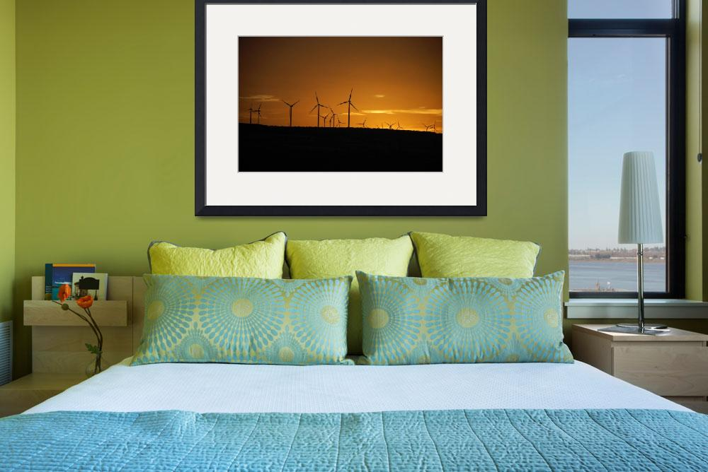 """""""Wind Turbines at Sunset&quot  (2008) by overbeck"""