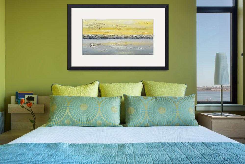 """""Coastal Reflections"" Yellow Grey Abstract""  (2014) by ChristineBell"
