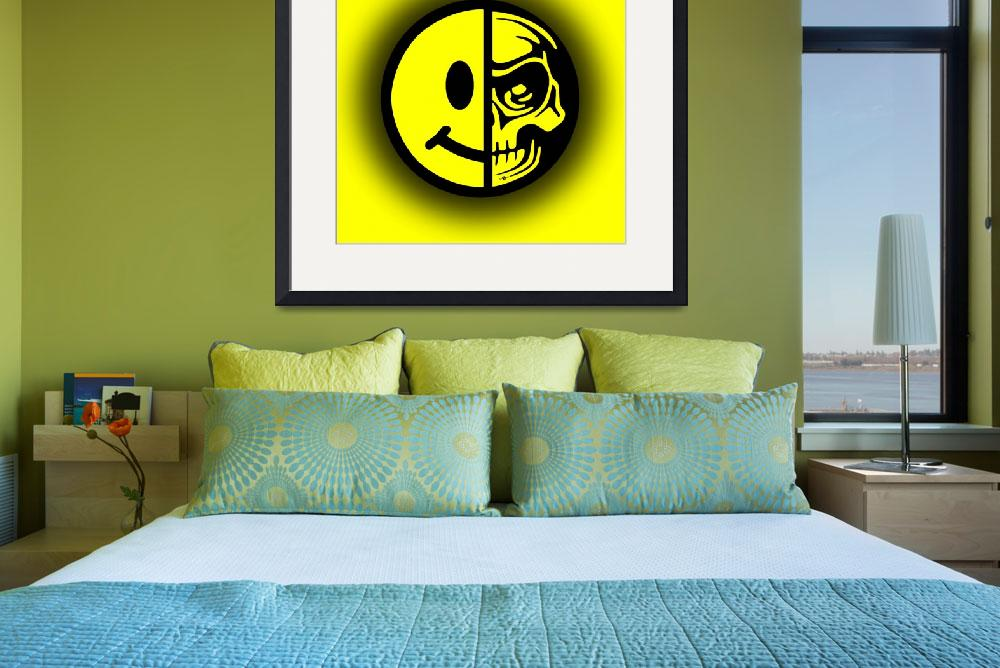 """""""Smiley Face Skull Yellow Shadow&quot  (2018) by RubinoFineArt"""