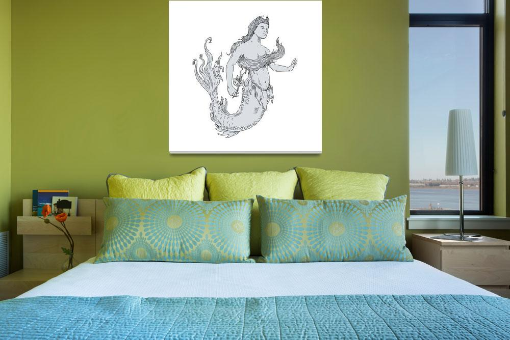 """Vintage Mermaid Holding Flower Drawing""  (2017) by patrimonio"
