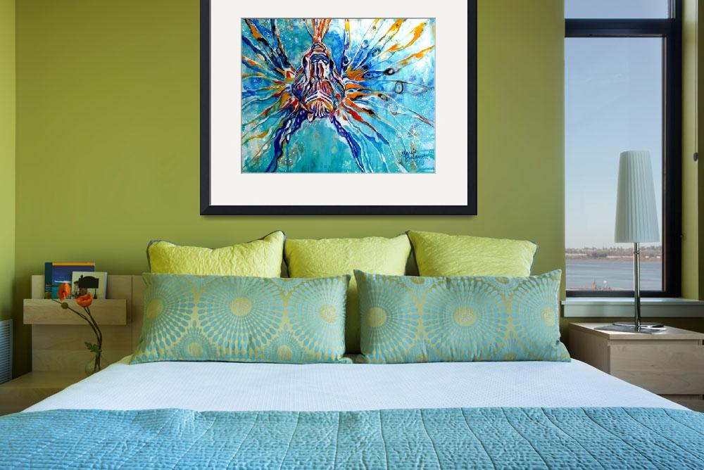"""LION FISH BLUE&quot  (2013) by MBaldwinFineArt2006"