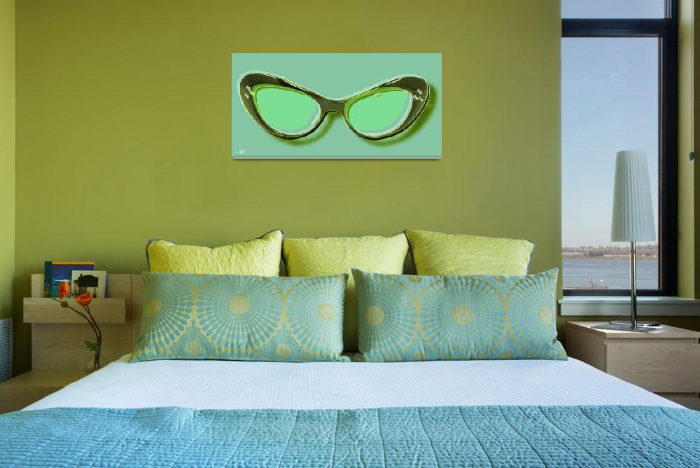 """Retro Glasses Funky Pop Mint Green&quot  by RubinoFineArt"