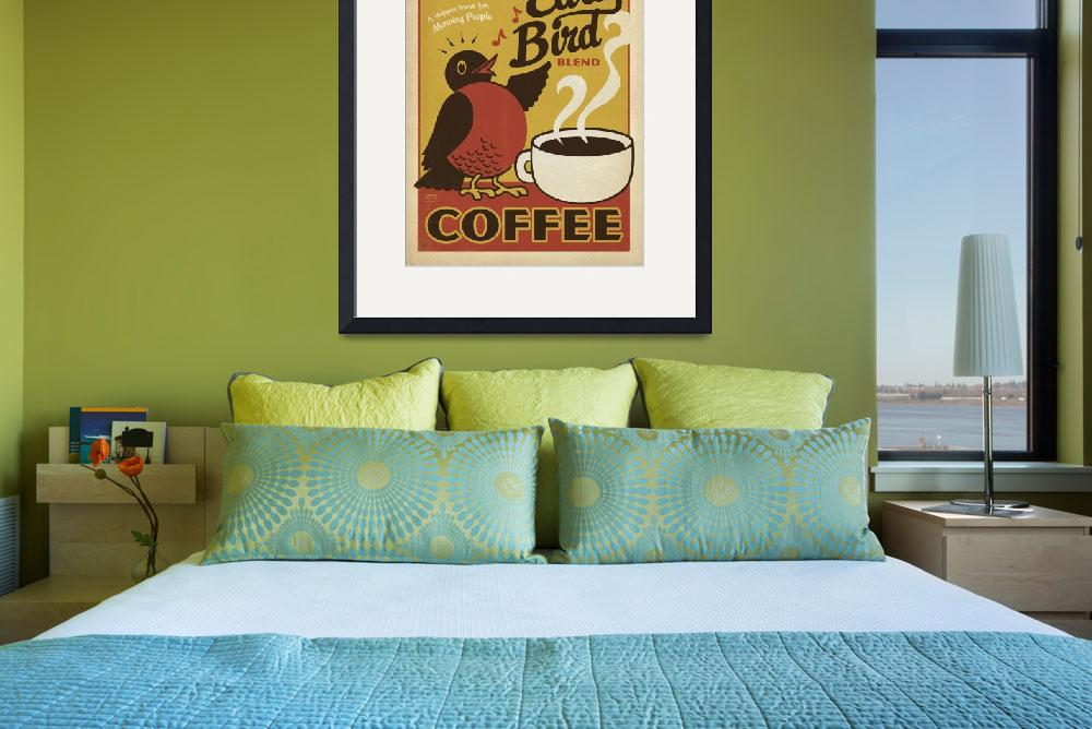 """Early Bird Blend Coffee - Retro Poster&quot  by artlicensing"