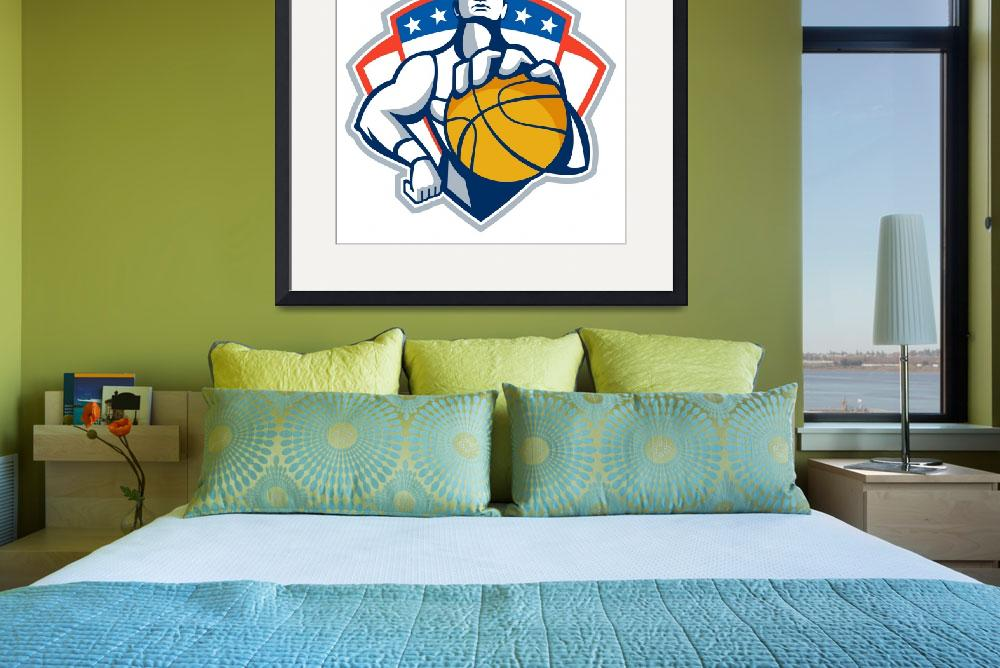 """""""Basketball Player Holding Ball Crest Retro&quot  (2013) by patrimonio"""