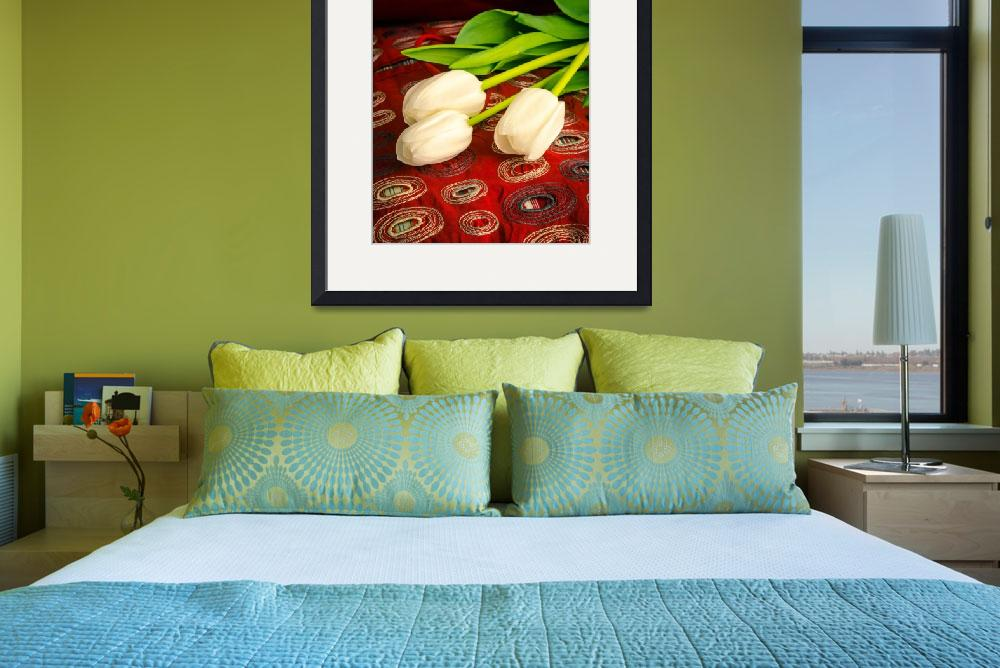 """""""White Tulips on Bed&quot  (2013) by fielding"""