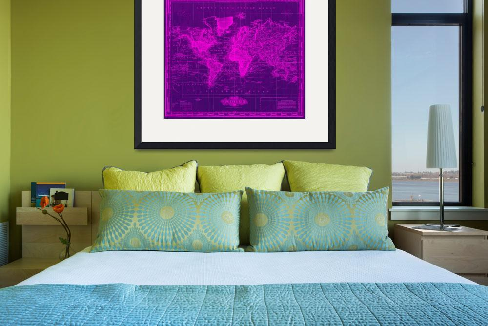 """Vintage Map of The World (1833) Black & Pink&quot  by Alleycatshirts"
