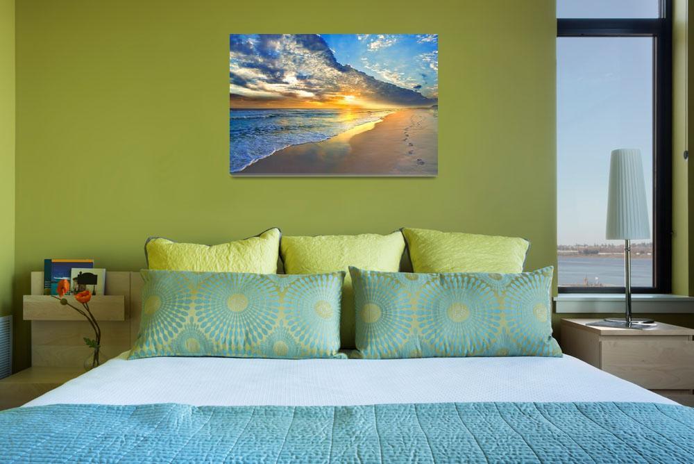 """Gold Sunset Beach Waves Seascape Fine Art Prints&quot  (2013) by eszra"