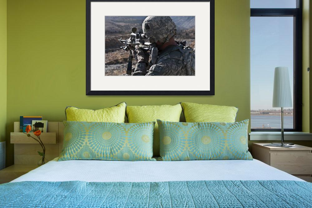 """""""U.S. Army sniper scans a village in Afghanistan fo&quot  by stocktrekimages"""