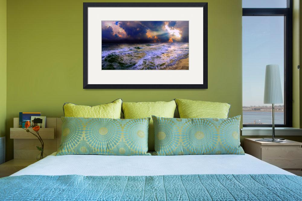 """""""stormy cloudy ocean sunset blue waves rays""""  (2015) by eszra"""
