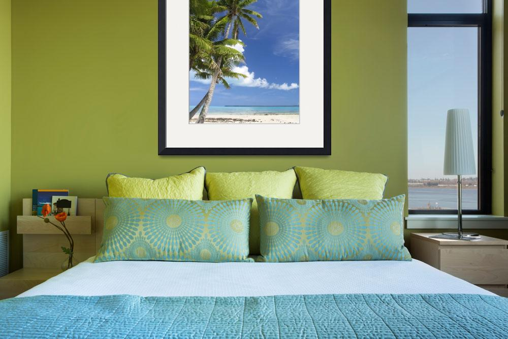 """""""Coconut Palm and turquoise lagoon, Aitutaki&quot  by upliftingphotos"""