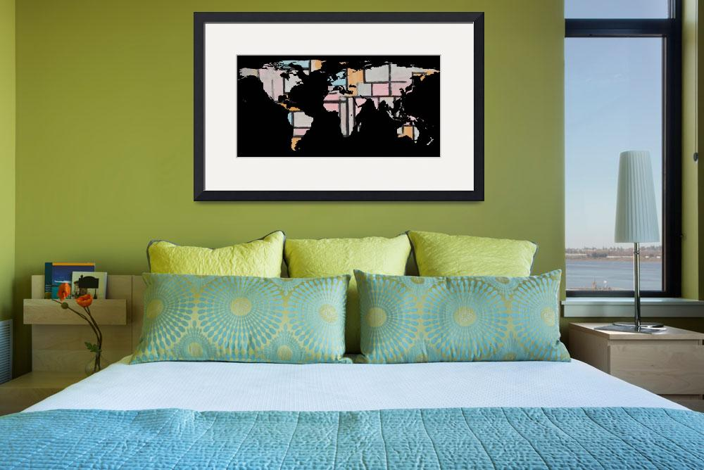 """World Map Silhouette - Abstract Piet Mondrian&quot  by Alleycatshirts"