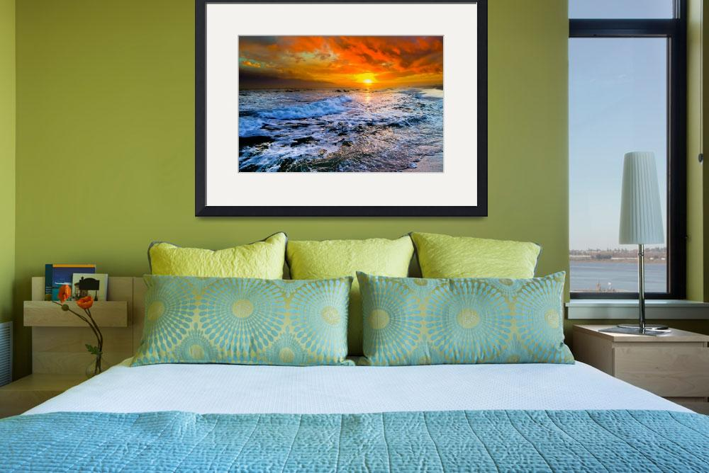 """""""Colorful Seascape Dark Red Sunset and Waves Prints""""  (2014) by eszra"""