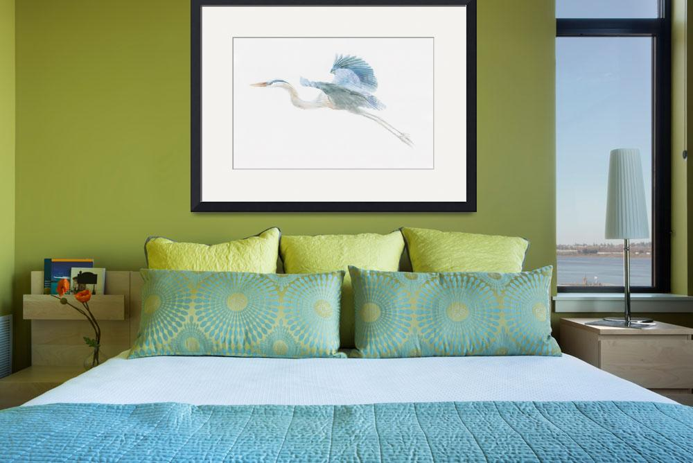 """""""great blue heron in flight&quot  (2006) by LisaMclaughlin"""
