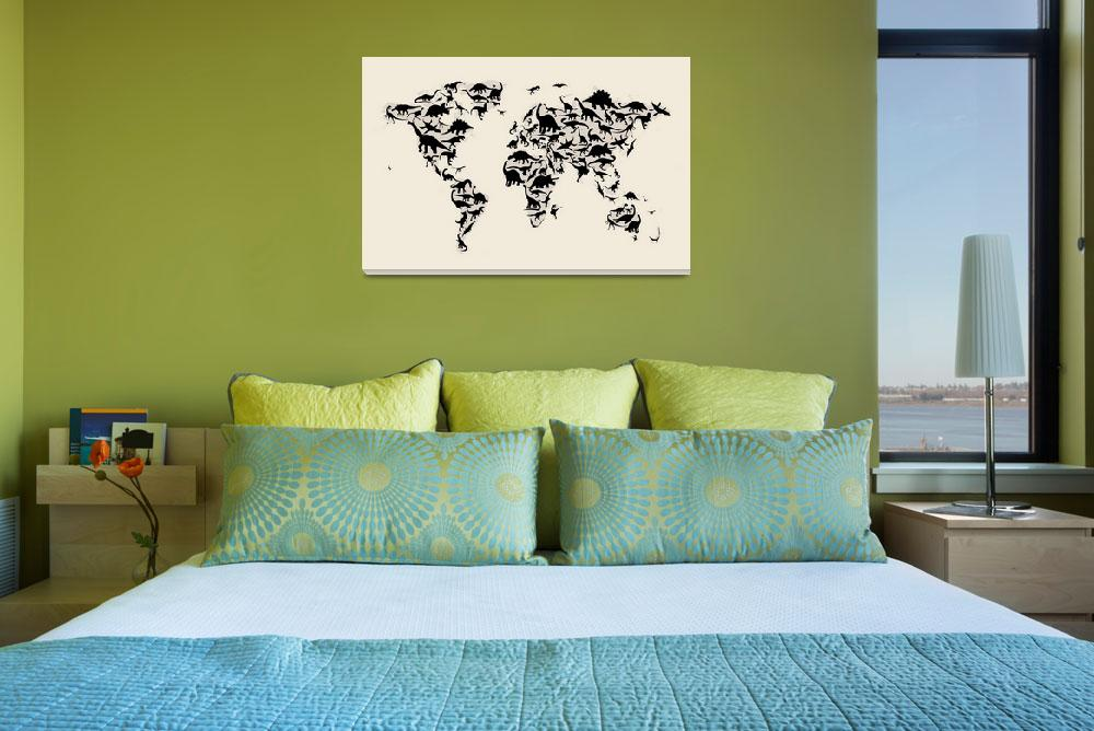 """Dinosaur Map of the World Map""  (2012) by ModernArtPrints"
