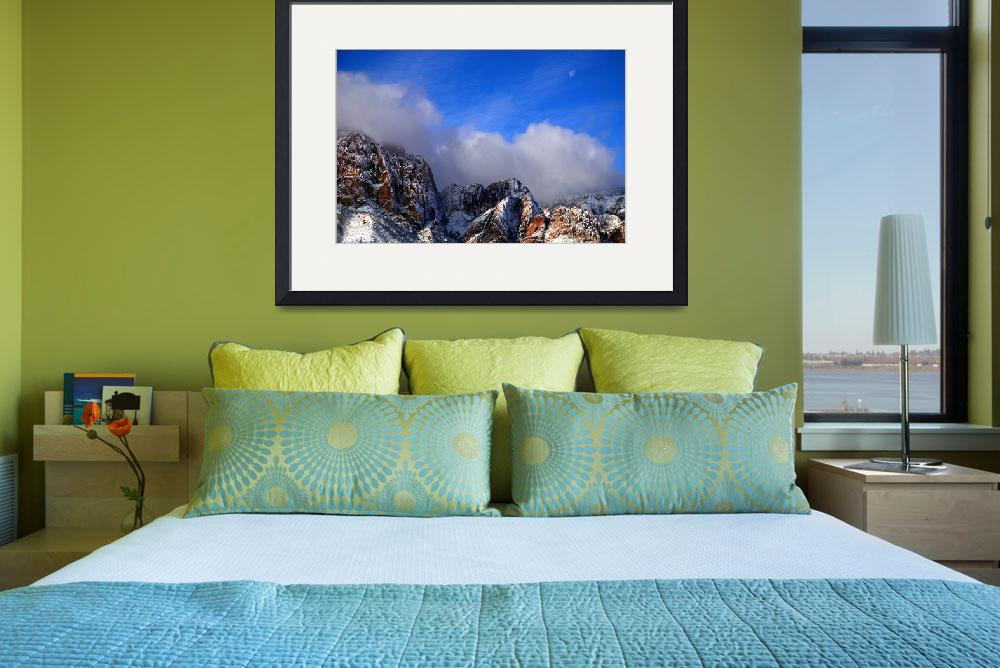 """""""Snow and Moon, Red Rock Canyon&quot  (2008) by PadgettGallery"""