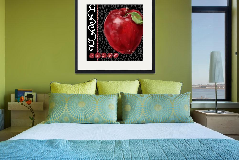 """""""Apple on Black and White&quot  (2008) by shariwarren"""