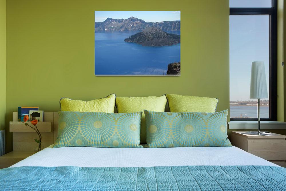"""Crater Lake Natural Wonder Oregon Blue Lake Island&quot  (2014) by BasleeTroutman"