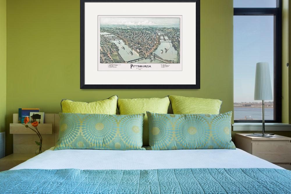 """""""Pittsburgh Pennsylvania Panoramic Map&quot  by ArtLoversOnline"""