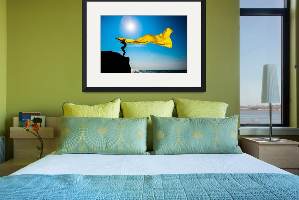 """""""girl with yellow fabric against the sky&quot  (2015) by andriy_petrenko"""