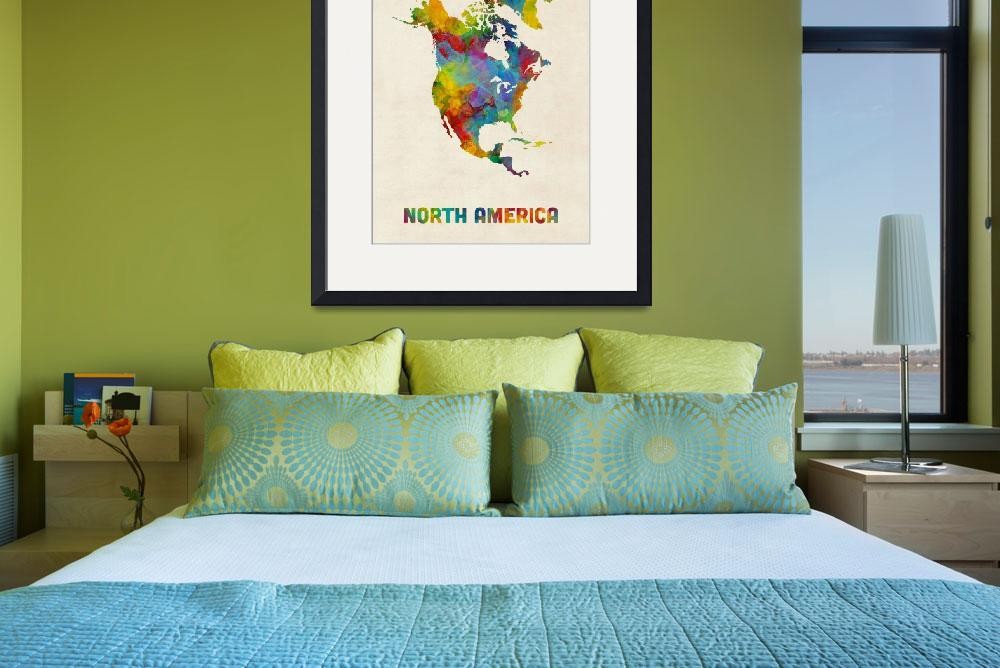 """North America Continent Watercolor Map&quot  (2018) by ModernArtPrints"