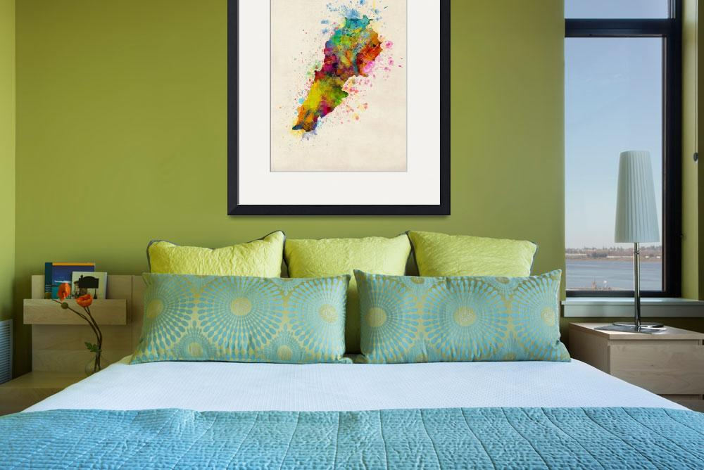 """Lebanon Watercolor Map&quot  (2017) by ModernArtPrints"