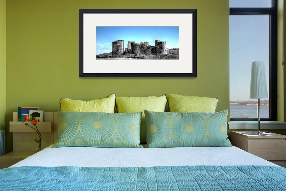 """""""Caerphilly Castle Monochrome With Blue Sky&quot  by StevePurnell"""