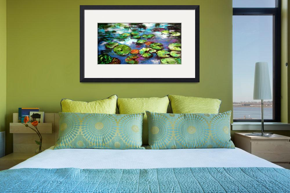 """""""Sparkling Lily Pond Original Painting by Ginette&quot  (2002) by GinetteCallaway"""