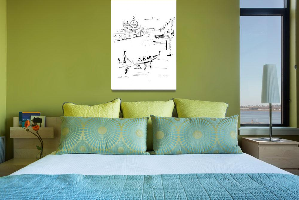 """""""Canale Grande Venice  Italy Ink Drawing""""  (2009) by GinetteCallaway"""