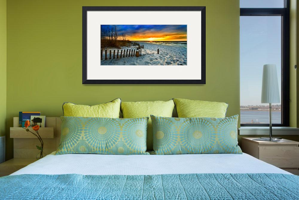 """""""panoramic landscape art print red sunset sunrise&quot  (2014) by eszra"""