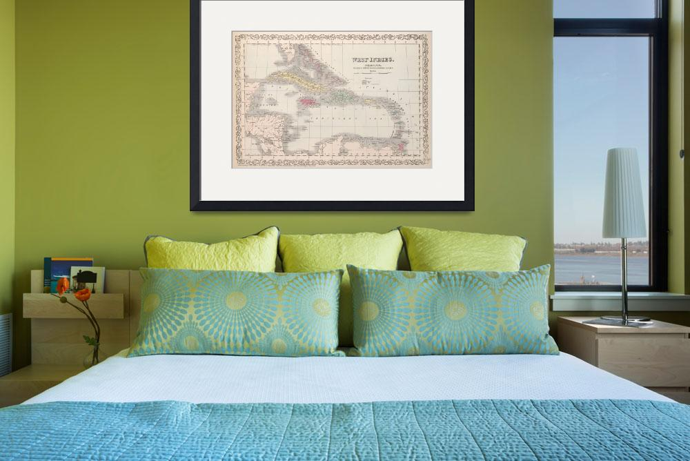 """""""Vintage Map of The Caribbean (1857)&quot  by Alleycatshirts"""