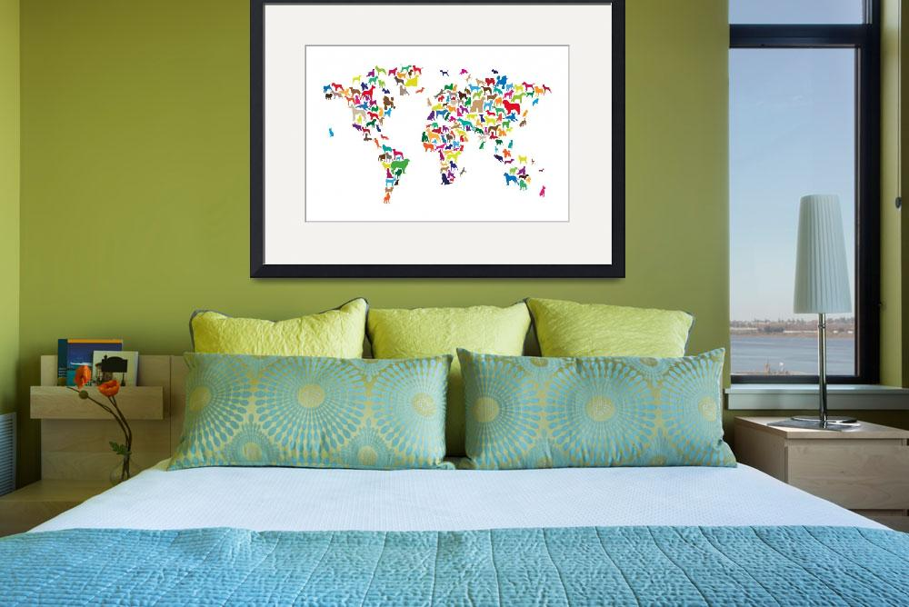 """""""Dogs Map of the World Map&quot  (2014) by ModernArtPrints"""