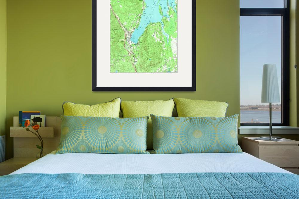"""""""Vintage Map of Lake George New York (1966)&quot  by Alleycatshirts"""