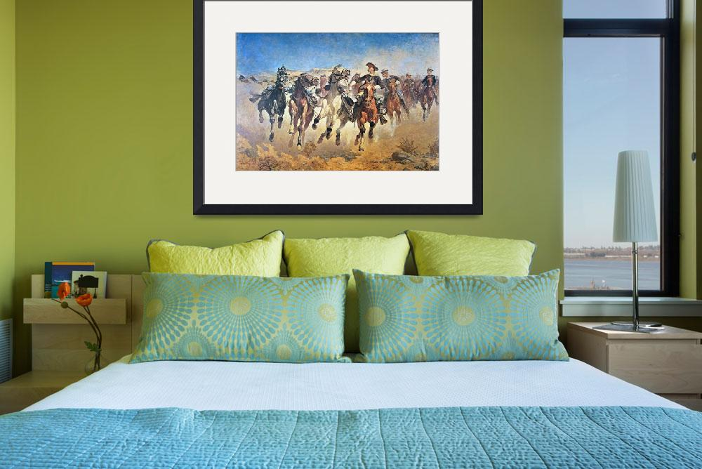 """""""Dismounted: the 4th Troopers Moving by F. Remingto&quot  by fineartmasters"""