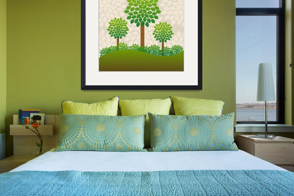 """""""Green trees background, abstract art""""  by lirch"""