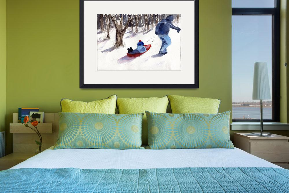 """""""Sledding Snow Scene, father and son&quot  (2013) by schulmanart"""