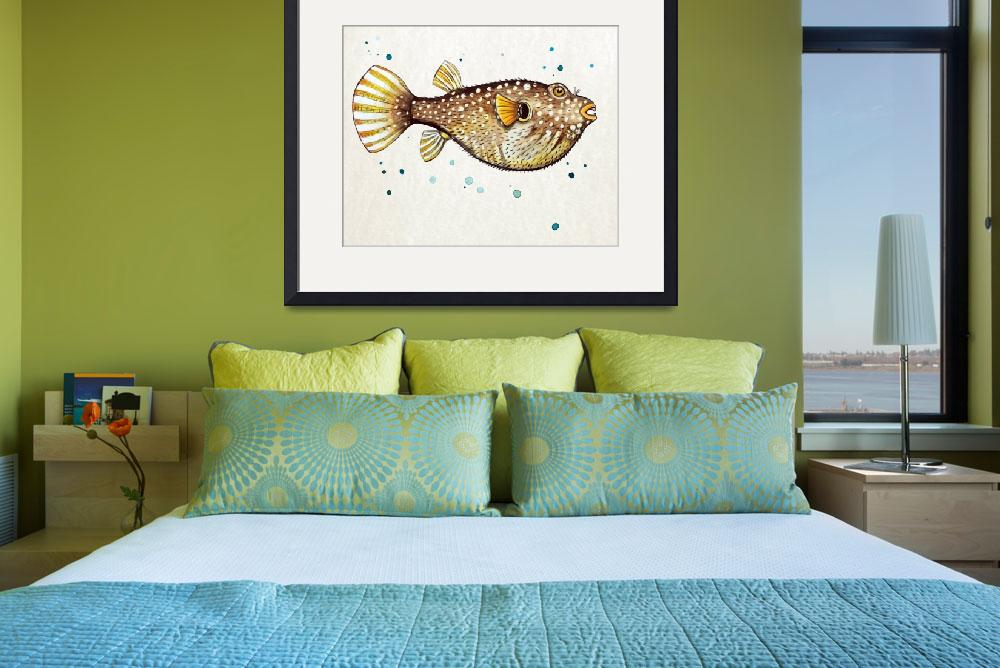 """""""PufferFish in Watercolor&quot  (2016) by Littlepig"""