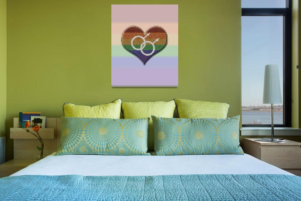 """""""Gay Pride Rainbow Heart with Male Gender Symbol""""  (2013) by LiveLoudGraphics"""