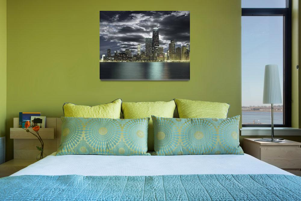 """""""Chicago skyline with stormy sky viewed across lake&quot  by Morganhowarth"""