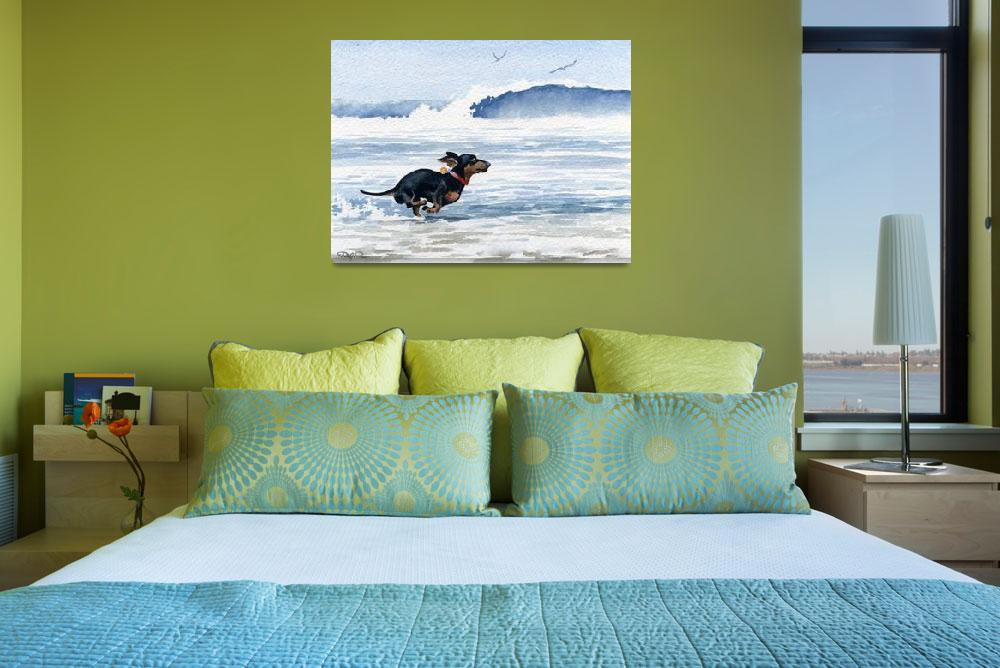 """Dachshund Running on Beach""  (2015) by k9artgallery"