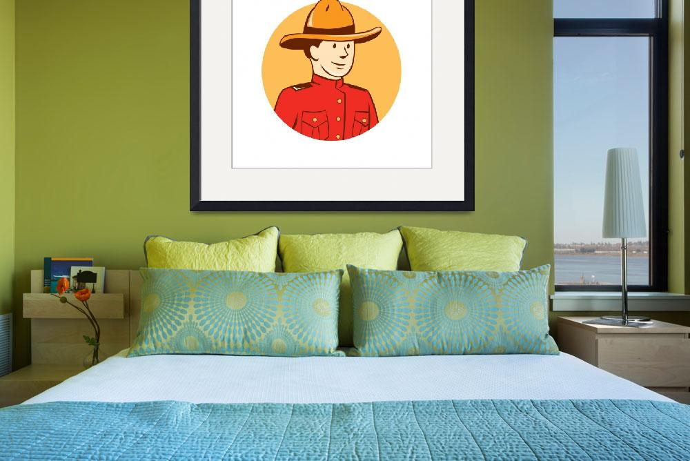 """""""Mounted Police Officer Bust Circle Cartoon&quot  (2015) by patrimonio"""