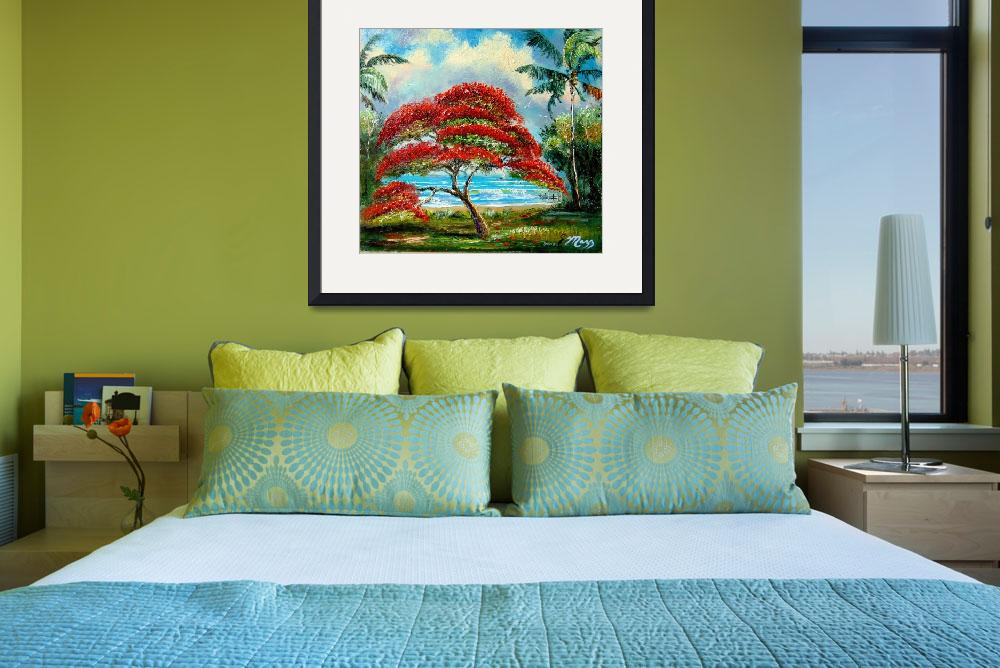 """""""Royal Poinciana Tree Painting&quot  (2008) by mazz"""