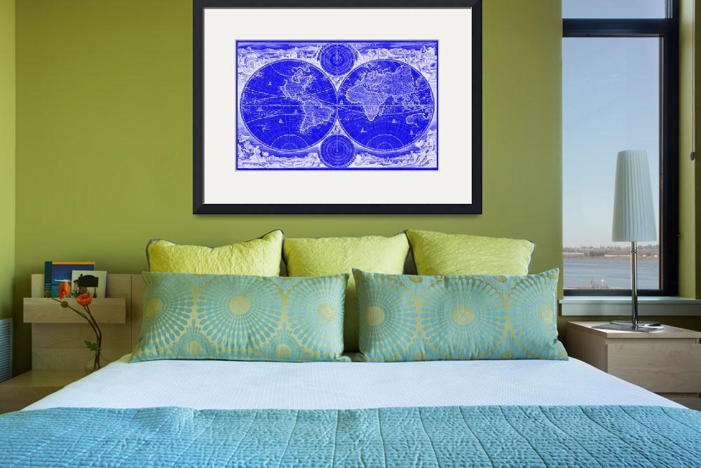"""""""World Map (1730) Blue & White""""  by Alleycatshirts"""