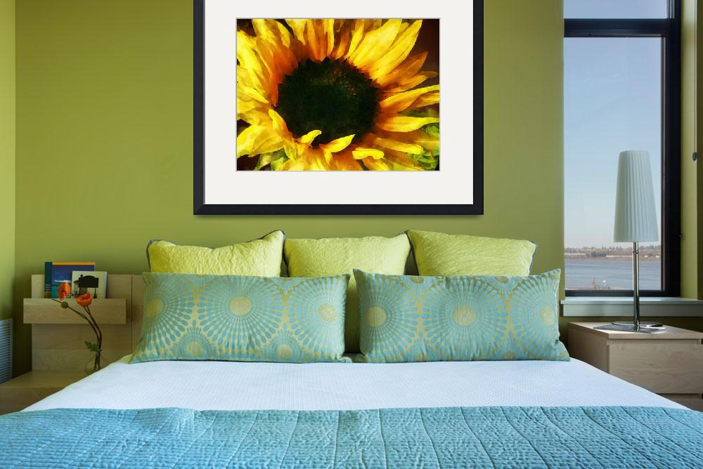 """""""Sunflower Shadow and Light&quot  (2013) by susansartgallery"""