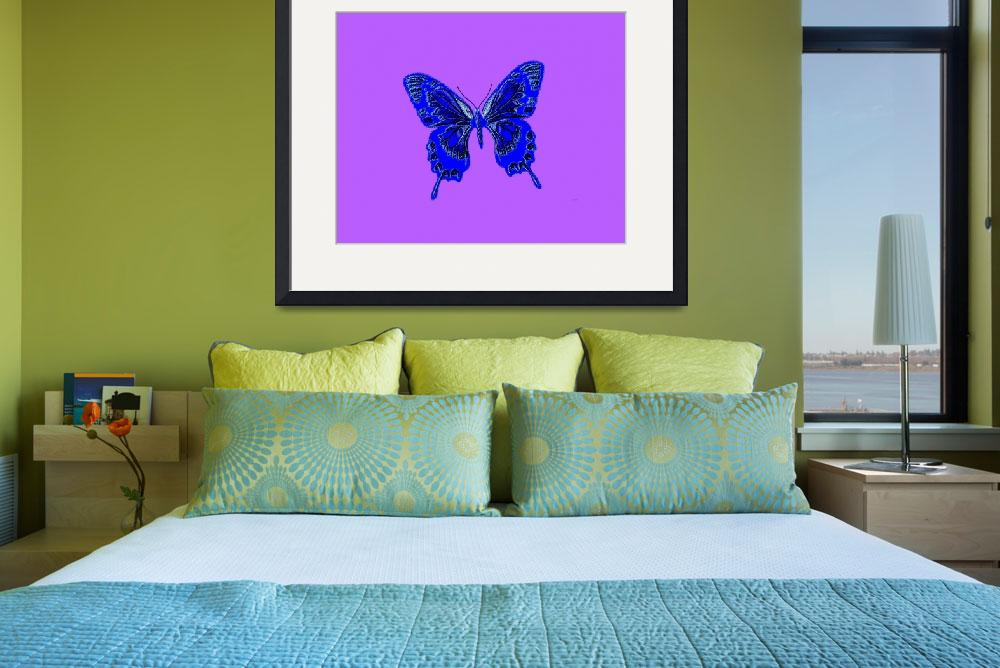 """""""Blue Indigo Butterfly Lavender Background""""  (2013) by TheNorthernTerritory"""