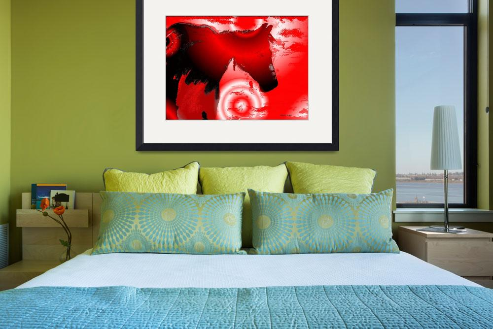 """""""Southwest RED Horse Abstract&quot  (2012) by redladyart1"""