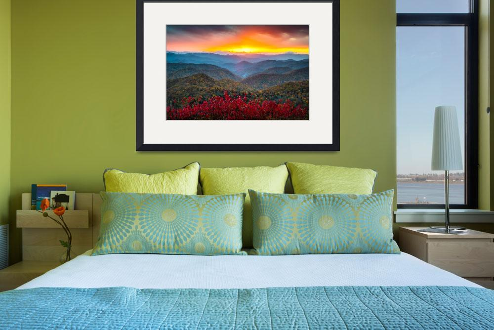 """Blue Ridge Parkway Autumn Sunset NC - Rapture""  (2012) by DAPhoto"
