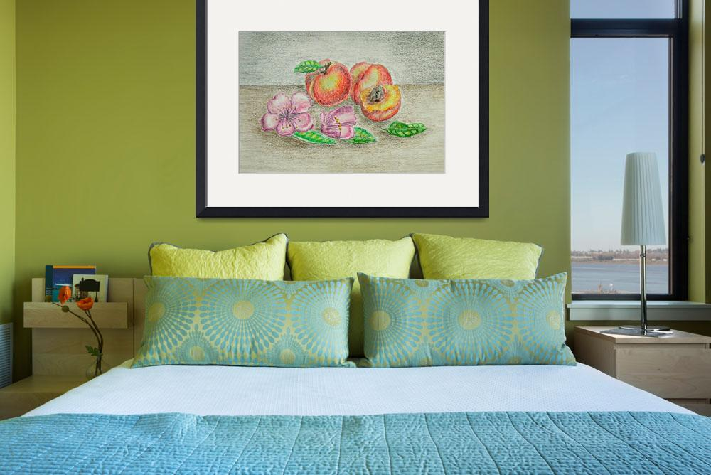 """""""still life Peaches with blossom flowers&quot  (2012) by thuraya"""