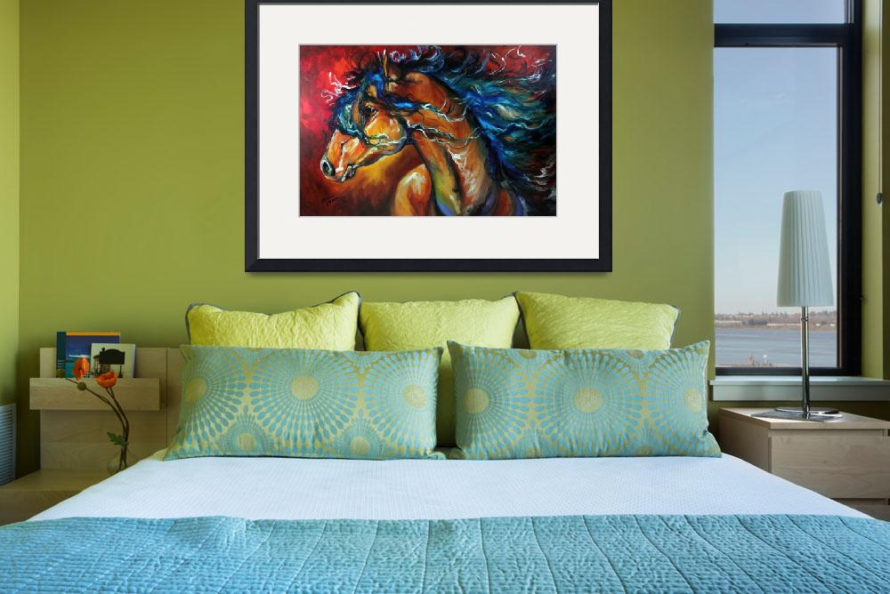 """""""RED THUNDER INDIAN WAR HORSE&quot  (2012) by MBaldwinFineArt2006"""