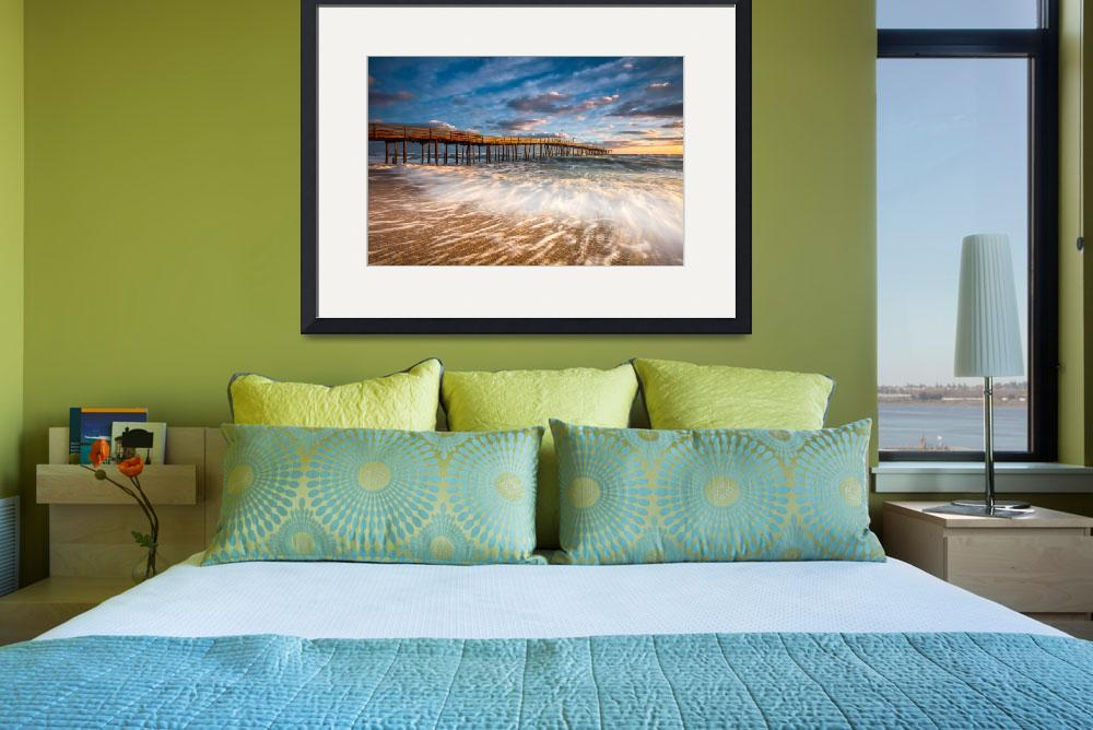 """North Carolina Outer Banks Nags Head Pier Seascape&quot  (2016) by DAPhoto"
