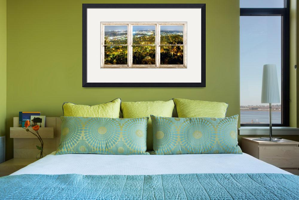 """City Lights Rustic Picture Window Frame Photo Art&quot  (2012) by lightningman"